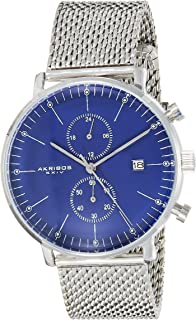 Akribos XXIV Men's Silver Swiss Quartz Multifunction Dual Time Zone Watch - Blue Matte Dial with Date and Month Subdial - Luminous Markers- Stainless Steel Mesh Bracelet - AK685