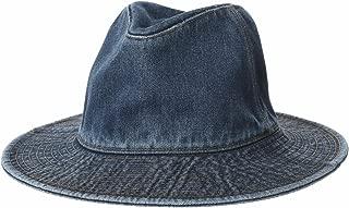 Denim Fedora Hat Plain Stitch Washed Short Wide Brim Panama Hat KR61009