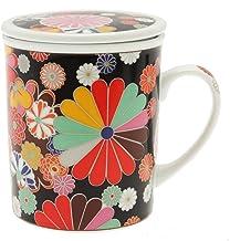 Kotobuki Floral Covered Mug, Black
