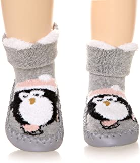 Baby Boy Girls Toddlers Moccasins Non-Skid Indoor Slipper Shoes Socks