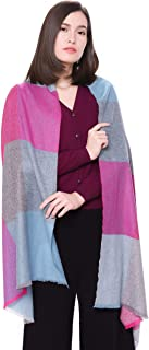 """100% Pure Cashmere Wrap Scarf - 79""""x27"""" Multicolored Woven Cashmere Scarf by Goyo Cashmere"""