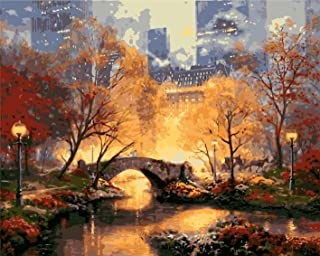 Paint by Numbers-DIY Digital Canvas Oil Painting Adults Kids Paint by Number Kits Home Decorations- Manhattan Park 16 * 20...