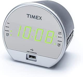 Timex Dual Digital Alarm Clock, FM Radio, Built in Speaker, USB Charger, Green LED Display with Dimmer, Battery Backup for Bedrooms, Bedside, Desk, Shelf, Snooze Adjustable Sleep Timer