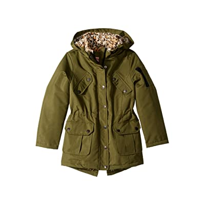 Urban Republic Kids Penelope Ballistic Anorak Coat w/ Animal Faux Fur Lining (Little Kids/Big Kids) (Fall Green) Girl