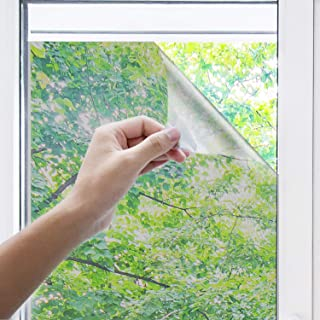 """innoAura One Way Window Film- Anti UV Static Cling Window Film 100% Light Blocking for Privacy Removal Decorate Heat Control Glass Tint Home Office Windows.(23.6"""" x 78.7"""", Silver)"""