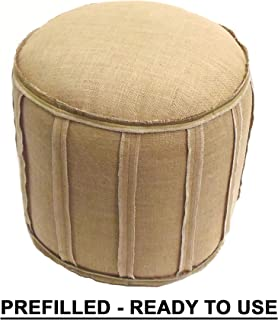 Cotton Craft - Rustic Jute Burlap Patch Pouf - Natural - Floor Ottoman - 100% Jute Fabric - Lovingly Handmade by Skilled Artisans by patching Together Strips of Natural Jute - 20 Diameter x 19 High