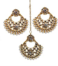 DecorTales Bollywood Style Indian Wedding Bridal Collection Maang Tikka Head Chain Jewelry Earrings Set Matha Patti
