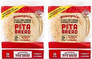 Joseph's Flax, Oat Bran and Whole Wheat Flour Pita Bread - Plus New Ridiculously Delicious Pita Bread Recipes! (2 Pack)