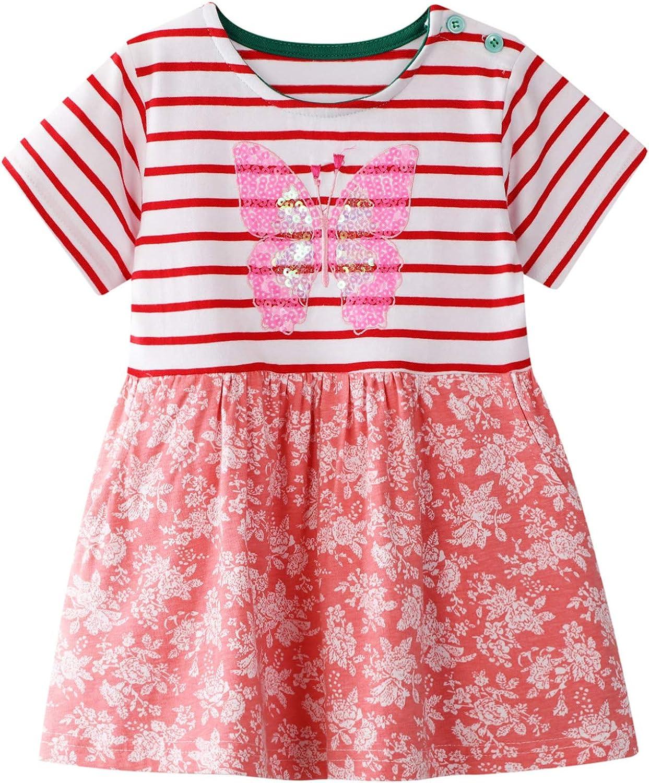 LINL Girls Glitter Sequins Dress Short Sleeve Summer Dress