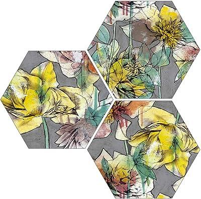 SAF 6 mm MDF Hexagon Floral Digital Reprint Painting (21 x 21 inch) SANFHX65