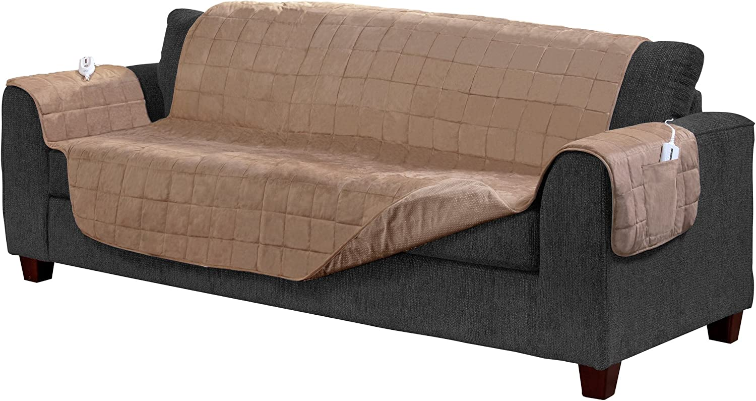 Serta   Quilted Electric Warming Furniture Predector, Pet Safe & Durable Easy Care Microsuede Fabric (Sofa Predector, Camel)