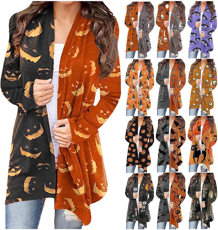 Halloween Cardigan Sweaters for Women Pumpkin Print Long Sleeve Open Front Funny Cardigan Tops Sweatshirt Loose Shirt