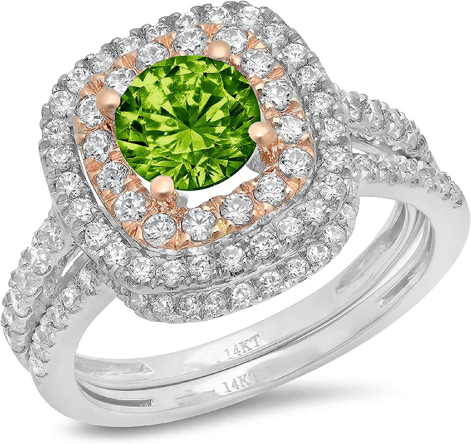 Clara Pucci 2.0ct Round Cut Halo Pave Solitaire Halo Accent Genuine Flawless Natural Green Peridot Engagement Promise Statement Anniversary Bridal Wedding Ring Band set Curved 18K White Rose Gold