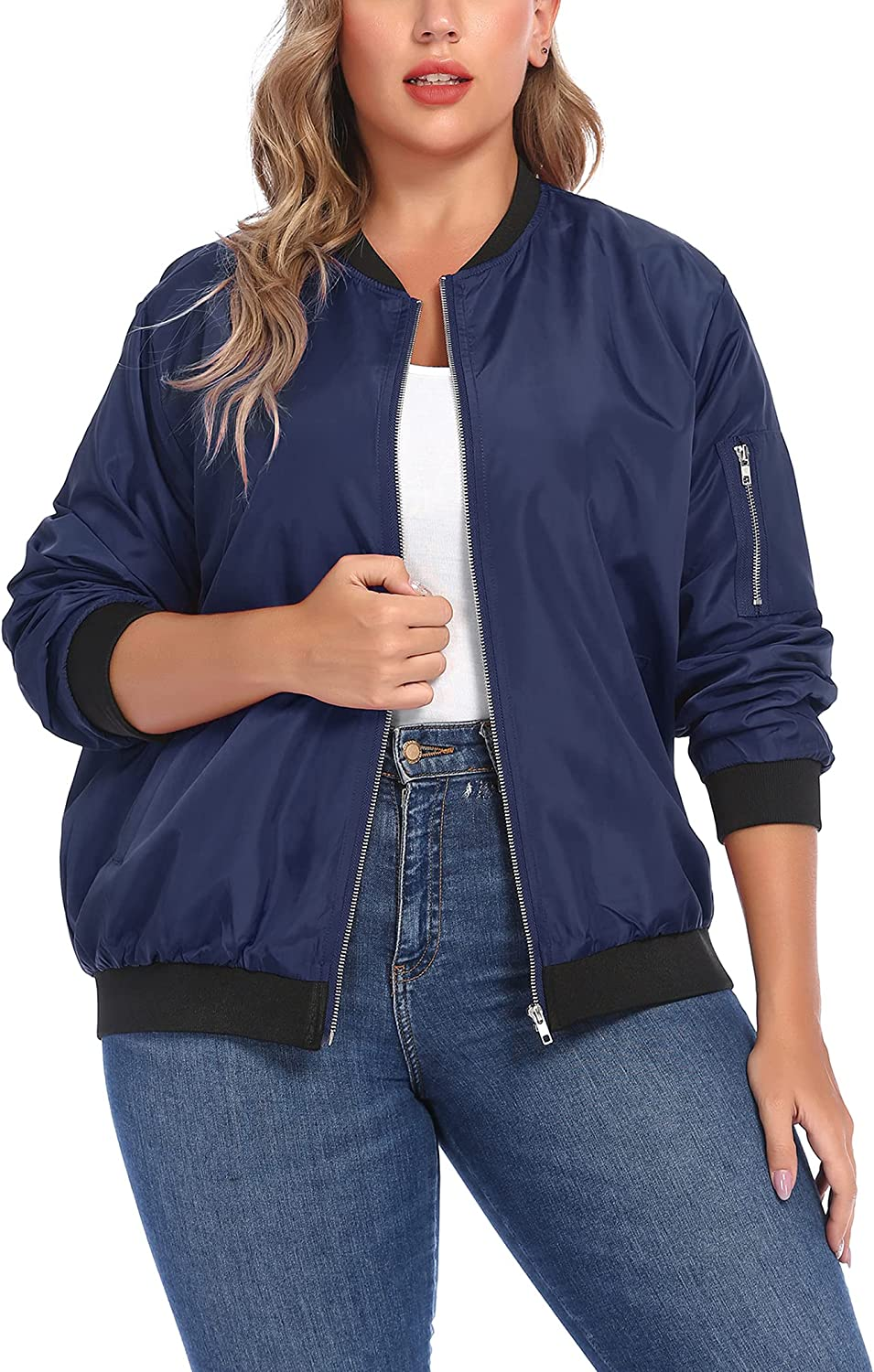 IN'VOLAND Womens Jacket Plus Size Jackets Ranking integrated 1st place Lightweight wit Charlotte Mall Bomber
