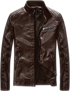Leather Jacket Men Black Motocycle Lightweight Classic
