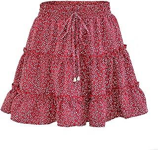 Women High Waist Frills Skirt Women Broken Flower Half-Length Skirt Printed Beach A Short Mini Skirts