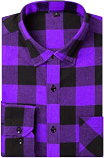 Sponsored Ad - DOKKIA Men's Dress Buffalo Plaid Checkered Fitted Long Sleeve Flannel Shirt Jacket