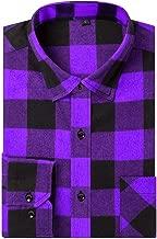 DOKKIA Men's Dress Long Sleeve Buffalo Plaid Gingham Flannel Shirts