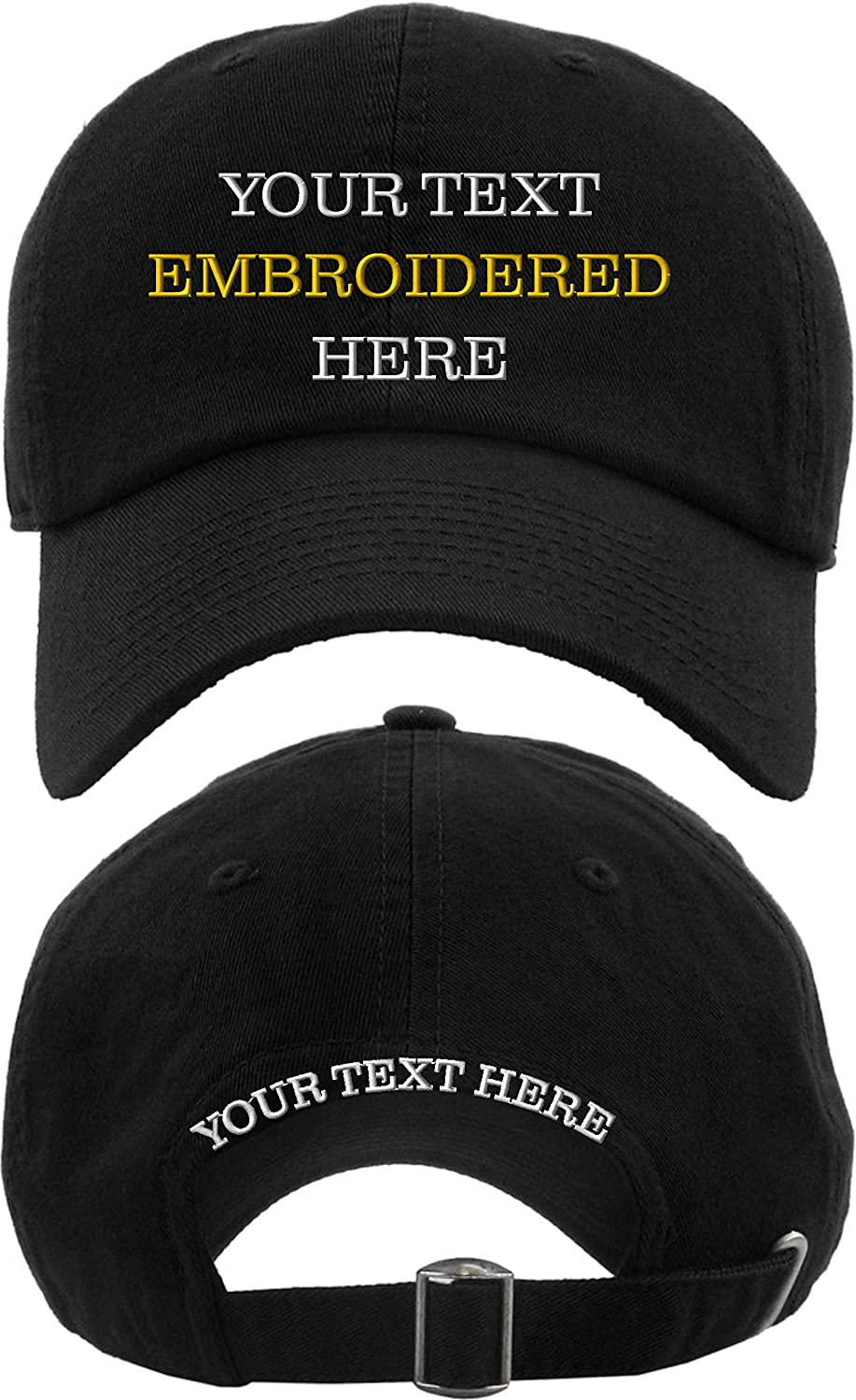 Custom Embroidery on NEW Brand new Caps Your Hats Embroidered Text Baseball