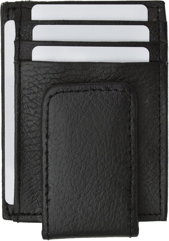 Leather Magnetic Money Clip Slim Credit Card Id Holder Black Men's Wallet