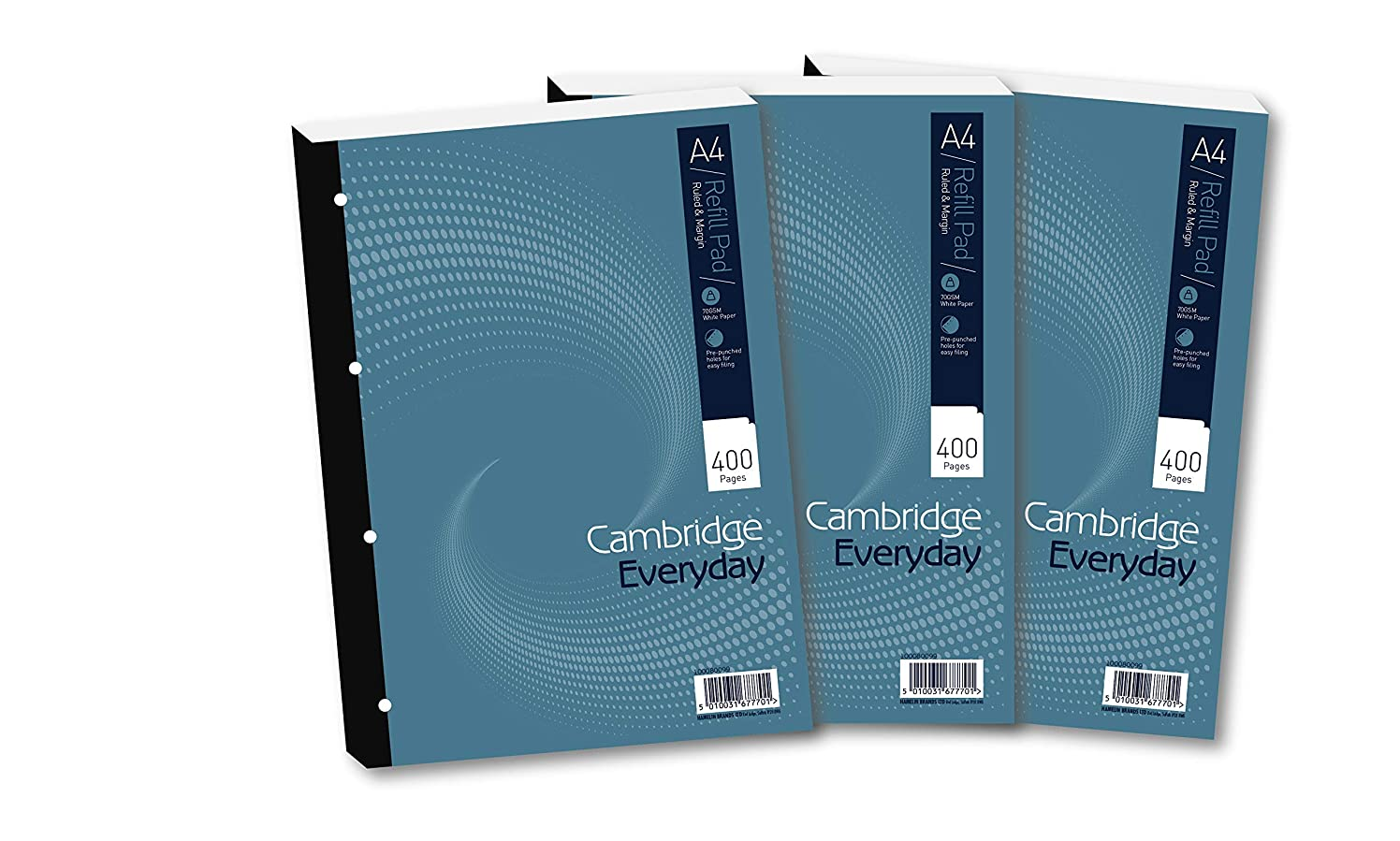 Cambridge A4 Refill Pad, Ruled and Margin, 400 Page, Pack of 3