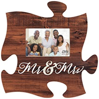 P. Graham Dunn Mr & Mrs Script Brown Distressed Wood Look 4 x 6 Wood Puzzle Wall Plaque Photo Frame