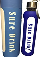 Glass Water Bottle Toxin/ BPA Free 18 Ounces SALE Impact Glass / Great for Travel Yoga Fitness Camping Tea etc