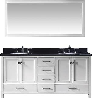 Virtu USA Caroline Avenue 72 inch Double Sink Bathroom Vanity Set in White w/Round Undermount Sink, Black Galaxy Granite Countertop, No Faucet, 1 Mirror - GD-50072-BGRO-WH