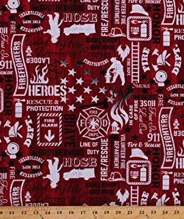 Cotton Firefighters Firemen Fire Engines Trucks Words Fonts Sayings Fire Department Emblem Equipment Flames Heroes Fire & Rescue on Red Cotton Fabric Print by the Yard (FIRE-C5502)