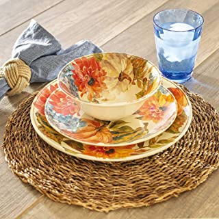 Harvest 12-Piece Melamine Dinnerware Set - BPA-free Dishwasher Safe