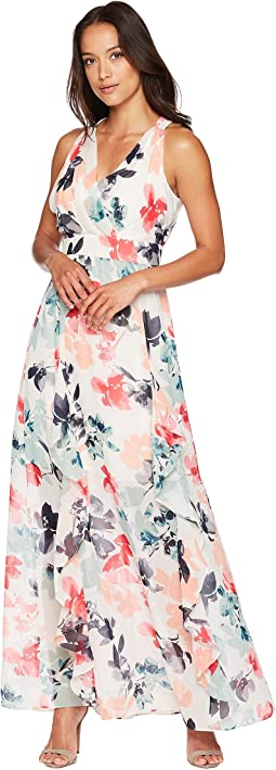 Printed Chiffon Maxi with V-Neck and Ruffle