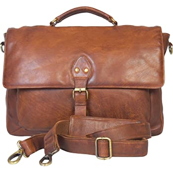 Leather Messenger Bag - 16 Inch Laptop Bag Office Briefcase for Men and Women