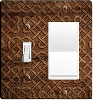3 D Effect Printed Maxi Viking Norse Celtic Knot Wood Pattern Switch Outlet Cover L0047 2 Gang Toggle Rocker Amazon Com
