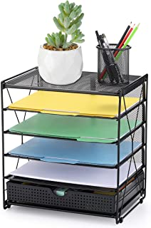CAXXA 5 Tier Mesh Tray Desktop Organizer with Adjustable Drawer Organizer Document Letter Paper File Tray Sorter | Office and Home, Black