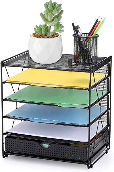 CAXXA 5 Tier Mesh Tray Desktop Organizer With Adjustable Drawer Organizer Document Letter Paper File Tray Sorter Office And Home Black