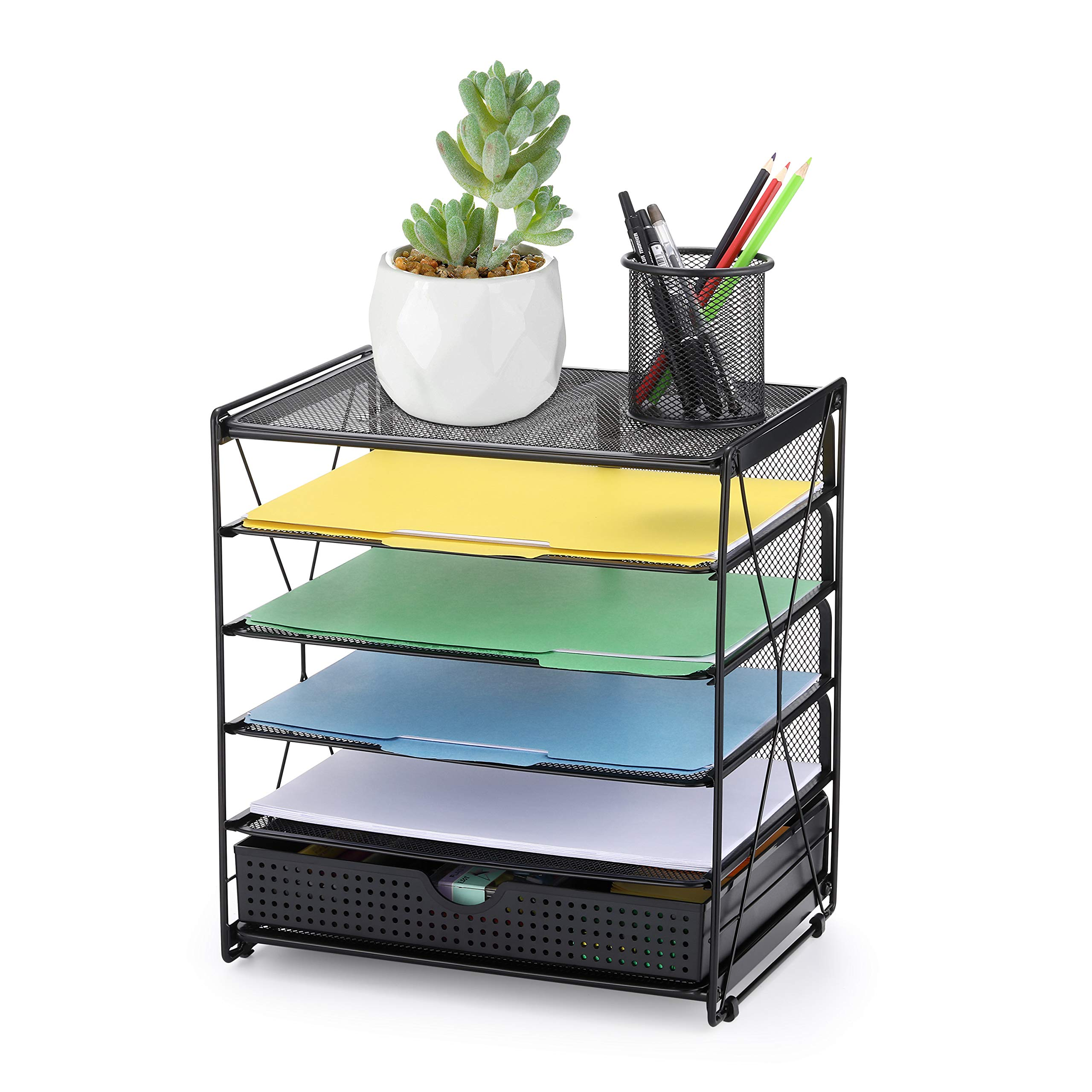 CAXXA 36 Tier Mesh Tray Desktop Organizer with Adjustable Drawer