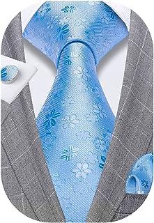 کراوات مردانه Barry.Wang کراوات ابریشمی جامد پیراهن جیب مربعی
