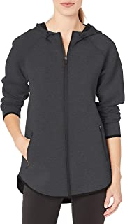 Amazon Essentials Women's Longer Length Tech-Sport Knit Full-Zip Hooded Jacket, Charcoal Heather, Small