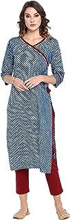 Janasya Women's Blue Pure Cotton Kurta With Pant