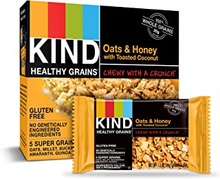 KIND Healthy Grains Granola Bars, Oats & Honey with Toasted Coconut, Gluten Free, 1.2 Ounce (Pack of 30)