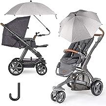 FREESOO Universal Sonnenschirm Sonnenschutz für Kinderwagen & Buggy - UV Schutz UPF50 75CM Sonnenschirm 360° verstellbar für Rund- oder Ovalrohr Regenschirm Kinderwagen Biegsamer Schirm Grau