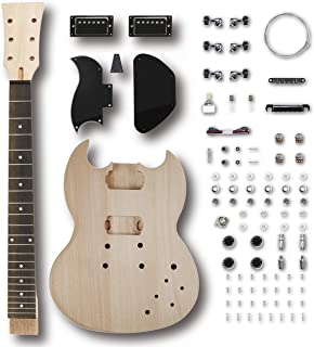 Leo Jaymz DIY Electric Guitar Kits with Mahogany Body and Neck - Rosewood Fingerboard and All Components Included (SG)