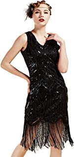 Women's Flapper Dresses 1920s V Neck Beaded Fringed Great Gatsby Dress