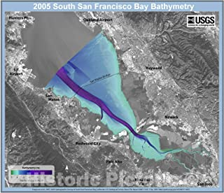 Historic Pictoric Map : 2005 Hydrographic Survey of South San Francisco Bay, California, 2007 Cartography Wall Art : 18in x 16in