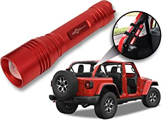 Jeep Wrangler Accessories Firecracker Red (Rubicon Red) Colored LED Flashlight with Roll Bar Holster. Holster fits Jeep Jk rollbar also. Color match is for 2018-2019 Jeep JL Accessories, 1000 Lumens