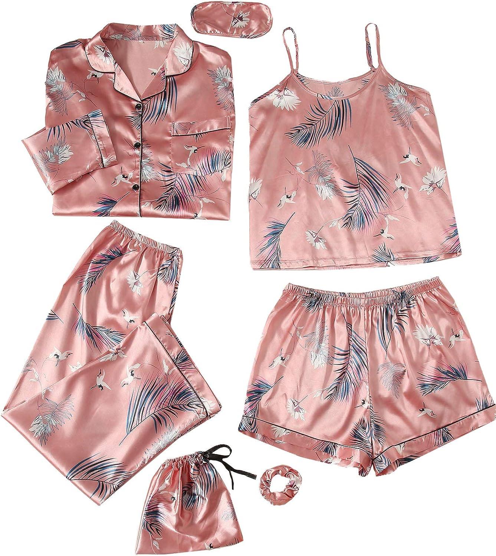 SheIn Women's 7pcs Printed Cami and Shorts Satin Pajama Set with Shirt and Eye Mask
