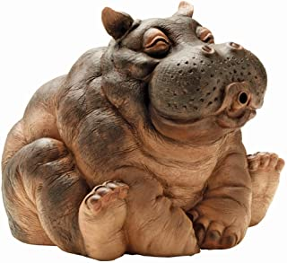 Design Toscano EU35009 Hanna the Hippo African Decor Piped Pond Spitter Statue Water Feature, 10 Inch, Polyresin, Full Color