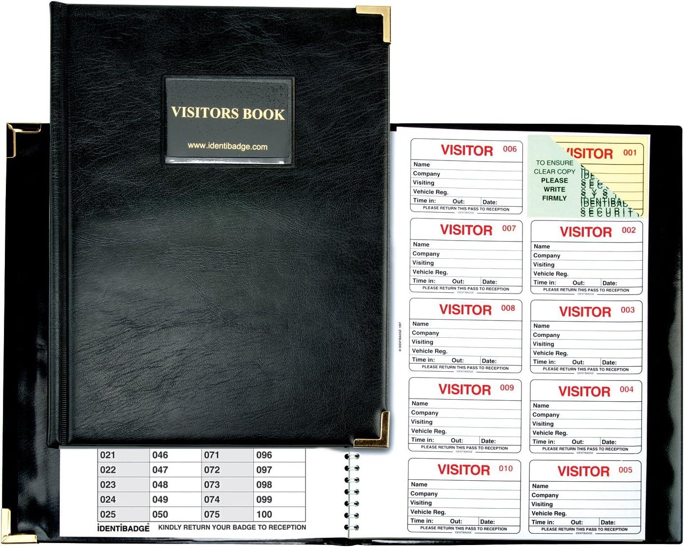 IDENTIBADGE Libro de visitas completo Registro compatible con GDPR Iniciar sesi/ón Libro 100 inserciones versi/ón en ingl/és