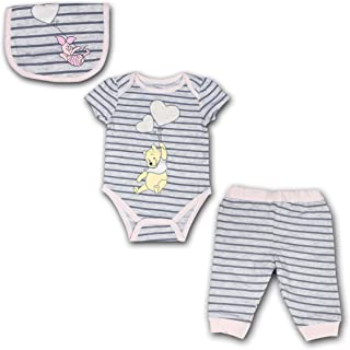 Winnie The Pooh 3 Pack Jogger, Onesie and Bib Set for Girls, Bodysuit Bundle for Baby