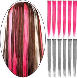 12 Pcs Colored Party Highlights Colorful Clip in Hair Extensions 22 inch Straight Synthetic Hairpieces for Women Kids Girls, Peach Pink + Light Gray